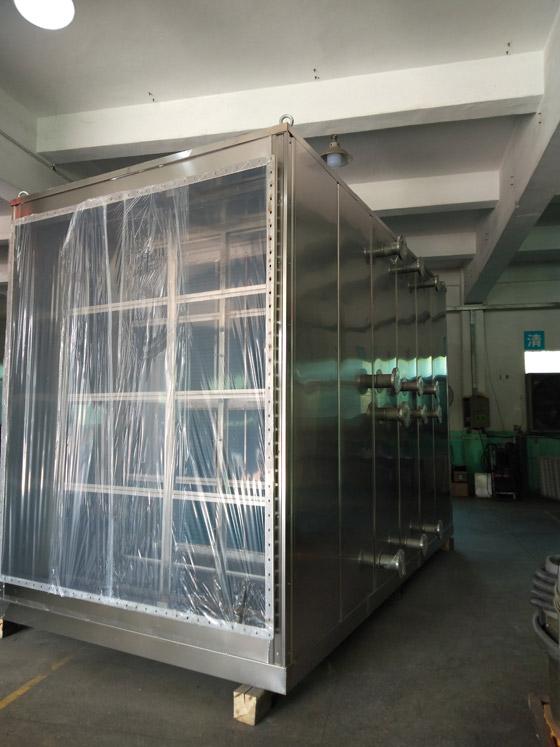 昆山某公司NMP易胜博大小球开盘思维冷凝主机完成,加固,打磨,清洁中